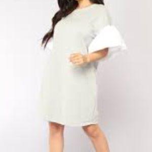 Grey Shift Dress Puffy Sleeve